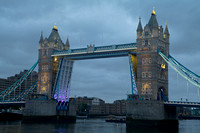 Olympic Rings being rigged at Tower Bridge